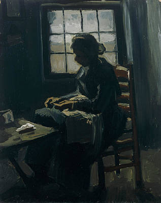 Woman Sewing Print by Vincent van Gogh