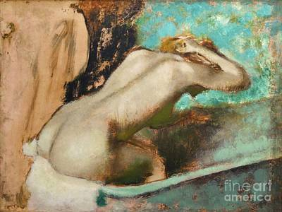 Of Edgar Degas Photograph - Woman Sitting On The Edge Of A Bath-tub And Spongeing Her Neck by Edgar Degas