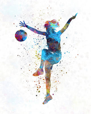 Woman Soccer Player 12 In Watercolor Print by Pablo Romero