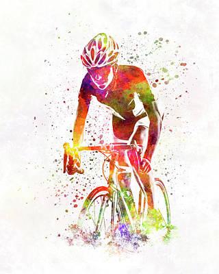 Woman Triathlon Cycling 04 Print by Pablo Romero