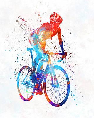 Woman Triathlon Cycling 06 Print by Pablo Romero