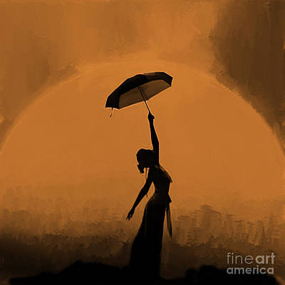 Perform Painting - Woman Under Umbrella 01 by Gull G