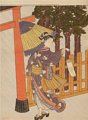 Suzuki Harunobu Painting - Woman Visiting The Shrine In The Night by Suzuki Harunobu