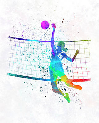 Woman Volleyball Player In Watercolor Print by Pablo Romero
