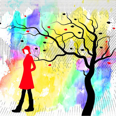 Woman Walking In Blustery Fall Rain With Colorful Watercolor Background Print by Serena King