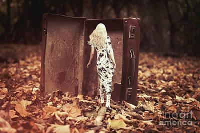 Floating Girl Photograph - Woman Walking Into Suitcase by Amanda Elwell
