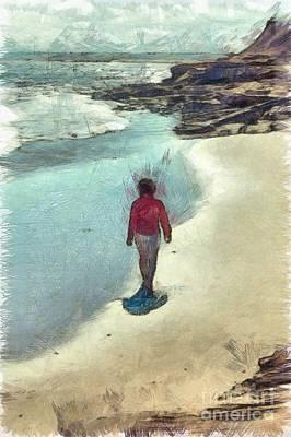 Woman Walking On The Beach Pei Print by Edward Fielding