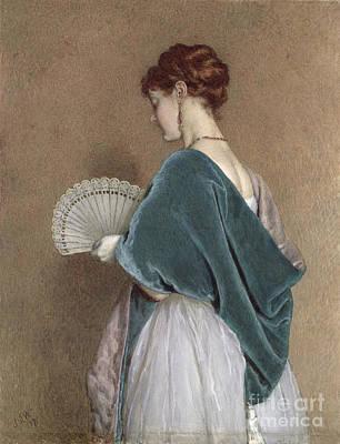 Necklace Photograph - Woman With A Fan by John Dawson Watson