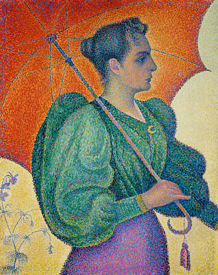 Pointillist Painting - Woman With An Umbrella by Paul Signac