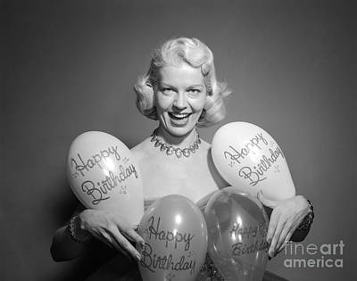 Woman With Birthday Balloons, C.1950s Print by Debrocke/ClassicStock