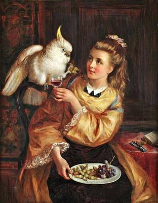 Cockatoo Painting - Woman With Cockatoo by Thomas Heaphy