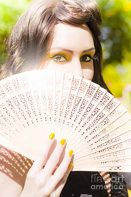 Woman With Fan Print by Jorgo Photography - Wall Art Gallery