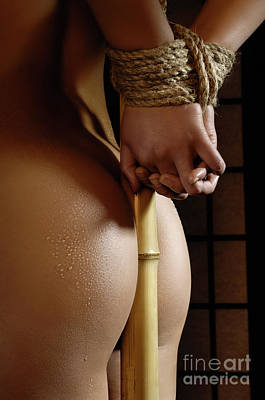 Nude Photograph - Woman With Her Hands Tied To Bamboo by Oleksiy Maksymenko