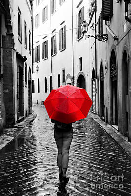Storm Photograph - Woman With Red Umbrella On Retro Street In The Old Town by Michal Bednarek
