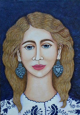 Portuguese Mixed Media - Woman With Silver Earrings by Madalena Lobao-Tello