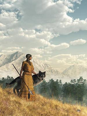 Woman With Wolf Print by Daniel Eskridge