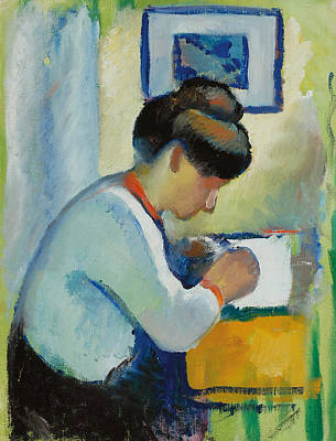 Woman Writing Print by Franz Marc