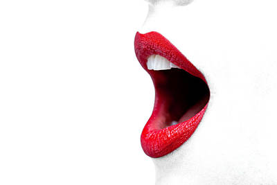 Womans Mouth Wide Open With Red Lipstick. Print by Richard Thomas
