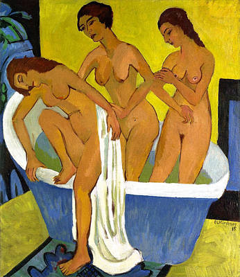 Bath Painting - Women Bathing, Triptych, Central Panel by Ernst Ludwig Kirchner