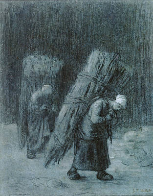 Drawing - Women Carrying Faggots by Jean Francois Millet