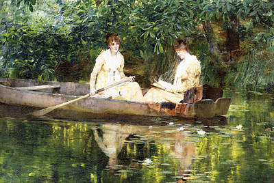 Reflecting Water Painting - Women In A Rowboat by Francis Coates Jones