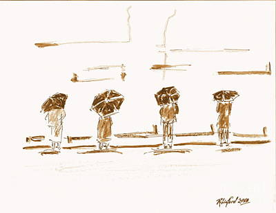 Women Of The Wailing Wall 2 Print by Richard W Linford