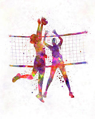 Women Volleyball Players In Watercolor Print by Pablo Romero