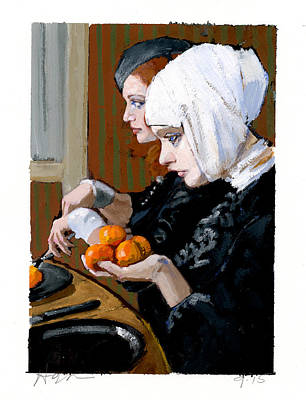 Bizarre Painting - Women With Tangerines by H James Hoff