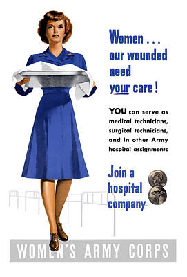 Health Care Painting - Women's Army Corps - Ww2 by War Is Hell Store