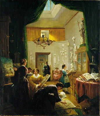 Painting - Women's Art Class by Louis Lang