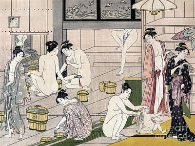 Dressing Room Drawing - Women's Bathhouse by Torii Kiyonaga