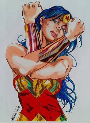 Super Hero Drawings Drawing - Wonder Woman Drawing by Hermes Ros