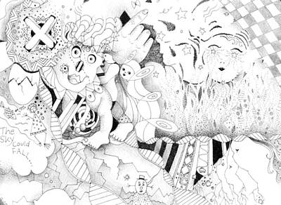 Uplifting Drawing - Wonderlands And Yellow Brick Roads by Helena Tiainen