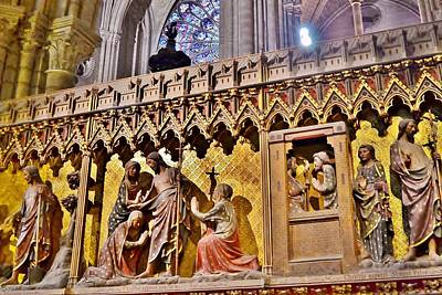 Wood Carvings At The Notre Dame Cathedral Paris France Print by Kim Bemis