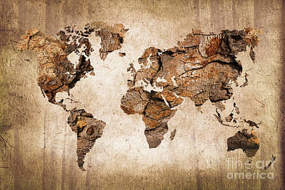 Wood World Map Print by Delphimages Photo Creations