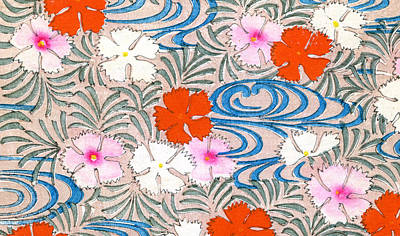 Blue And Red Drawing - Woodblock Print Of Carnation Flowers by Japanese School