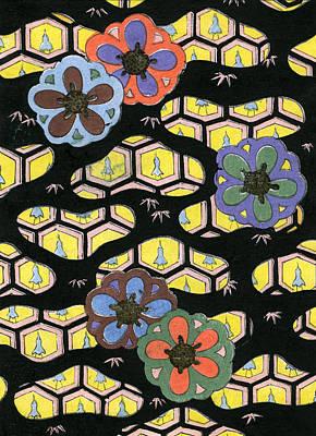 Woodblock Print Of Honeycomb Pattern Print by Japanese School
