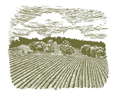 Pasture Scenes Drawing - Woodcut Farm On Highway 60 by John Morris