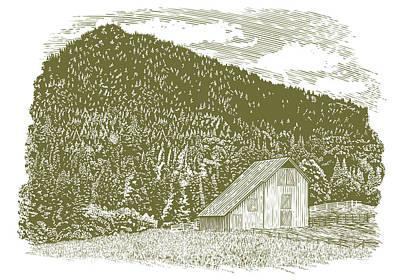 Pasture Scenes Drawing - Woodcut Idaho Barn by John Morris