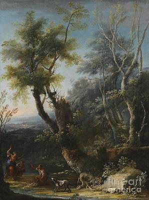 Dog In Landscape Painting - Wooded Landscape With Figures And A Dog by Michele Pagano