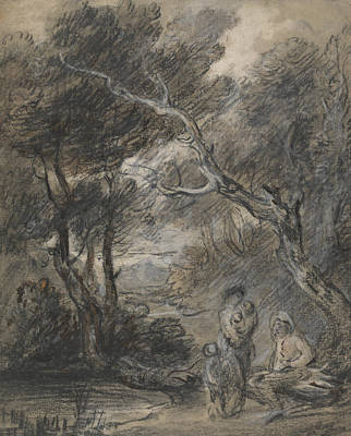 18th Century Painting - Wooded Landscape With Figures  by Thomas Gainsborough