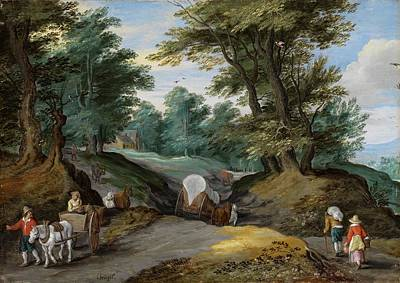 Horse And Cart Painting - Wooded Landscape With Horses Carts And To The Market Attracting Farmers by Jan Brueghel the Younger