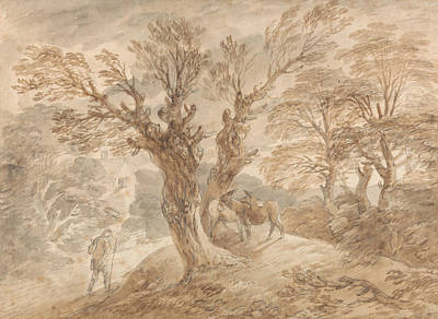 Donkey Drawing - Wooded Landscape With Peasant And Donkeys by Thomas Gainsborough