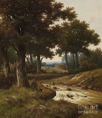 Landscape Painting - Wooded River Landscape With Houses In The Background by Celestial Images