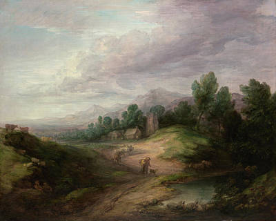 Farming Painting - Wooded Upland Landscape by Thomas Gainsborough