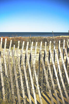Wooden Beach Fence I Print by Colleen Kammerer