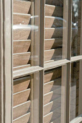 Beige Glass Photograph - Wooden Blind by Tom Gowanlock