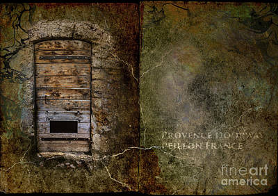 Wooden French Door In Provence  Print by Elizabetha Fox