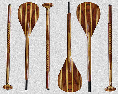 Canoe Digital Art - Wooden Paddles by Cheryl Young