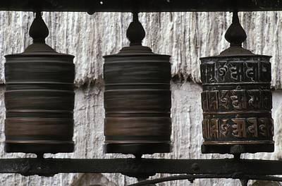 Tibetan Buddhism Photograph - Wooden Prayer Wheels by Sean White